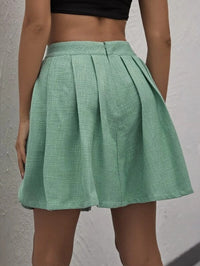 Women High Waist Boxy Pleated Tweed Skirt