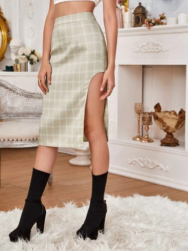 Women High Waist Plaid Split Thigh Skirt