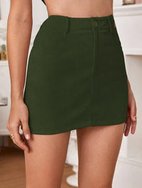 Women High Waist Slant Pocket Corduroy Skirt