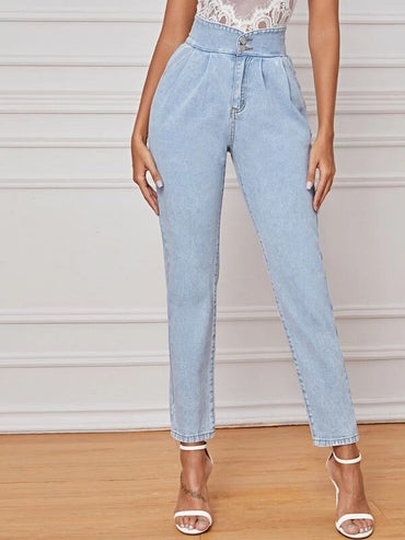Women High Waist Solid Straight Leg Jeans