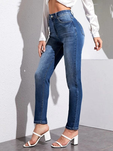 Women High Waist Tapered Jeans
