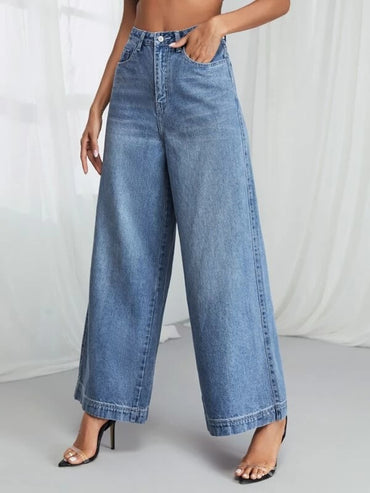 Women High Waist Wide Leg Jeans