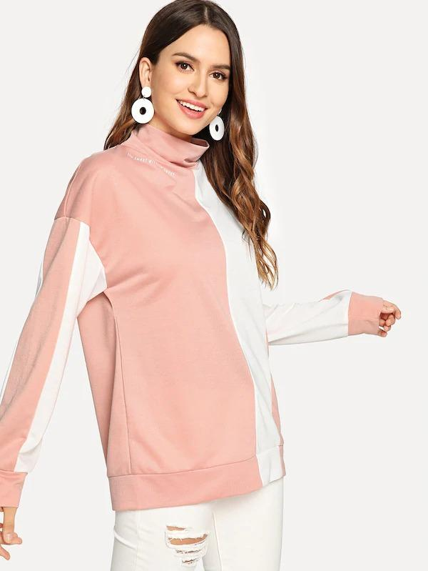 High Neck Color-Block Pullover