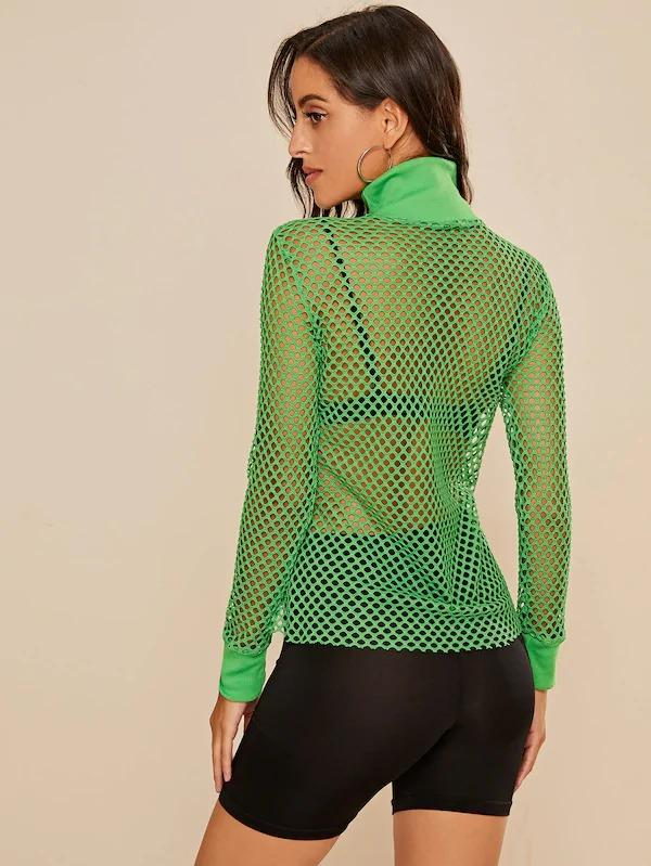 High Neck Fishnet Sheer Sweatshirt