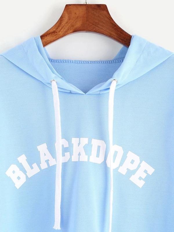 Hooded Letter Print Crop Sweatshirt