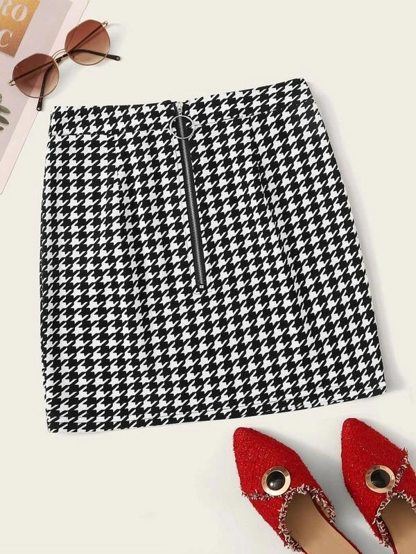 Houndstooth Print O-Ring Zip Front Bodycon Skirt