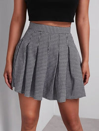 Women Houndstooth Mini Pleated Skirt