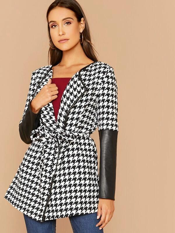 Houndstooth Print Mixed Media Self Belted Coat