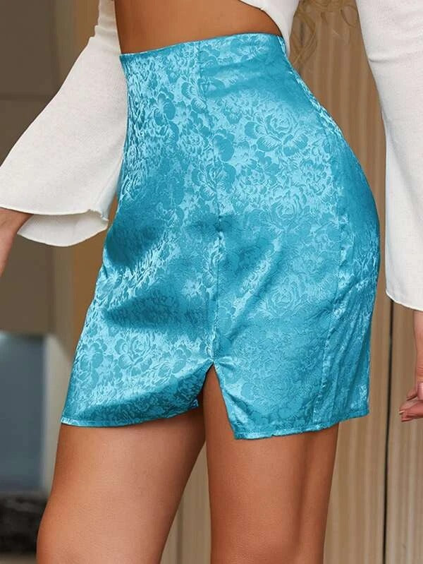 Women Jacquard Satin Slit Hem Skirt