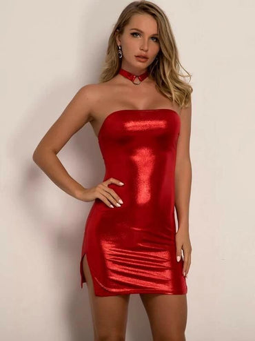 Joyfunear Slit Hem Metallic Tube Dress With Choker
