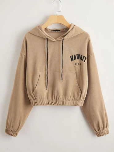 Women Kangaroo Pocket Letter Embroidery Drawstring Hoodie