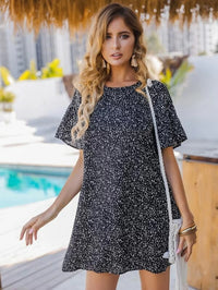 Women Keyhole Back Dalmatian Print Dress
