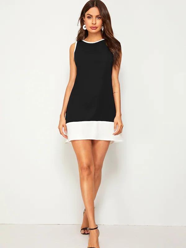Keyhole Back Colorblock Ringer Dress