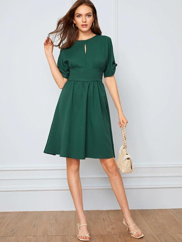 Keyhole Front High Waist Split Sleeve Flare Dress