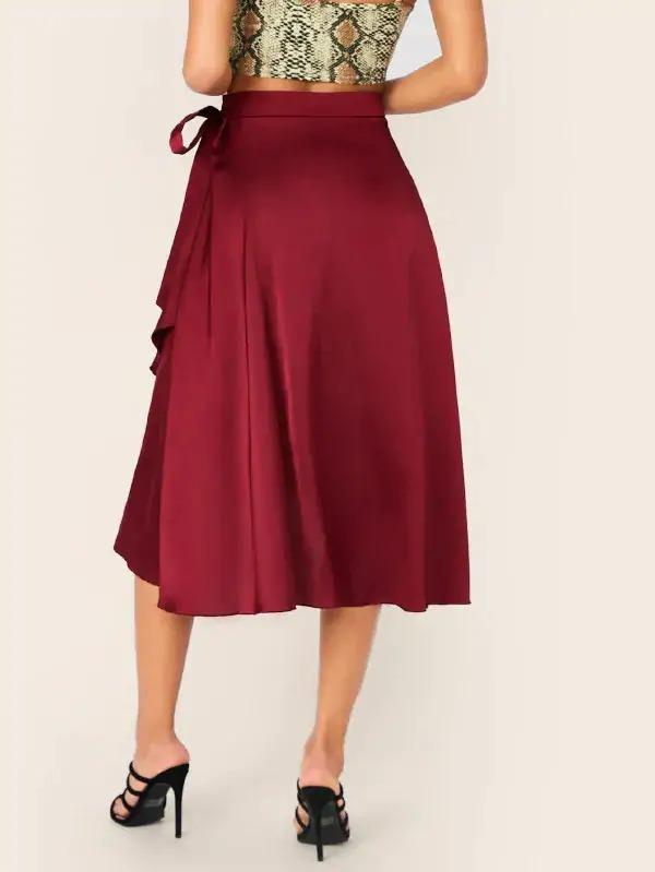Knot Detail Wrap Asymmetrical Hem Satin Skirt
