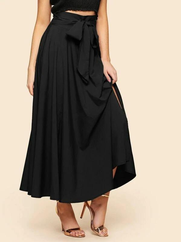 Knot Front Split Solid Skirt