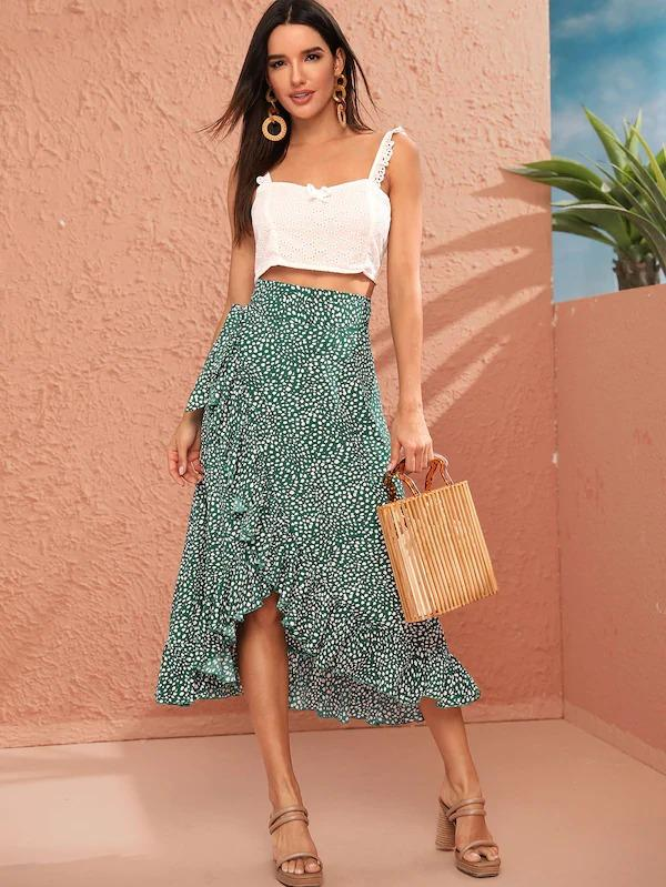 Knot Side Ruffle Trim Dalmatian Print Wrap Skirt