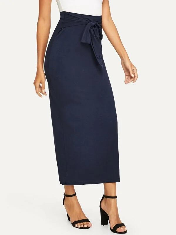 Knot Waist Solid Skirt