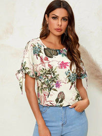 Women Knot Cuff Tropical Print Top