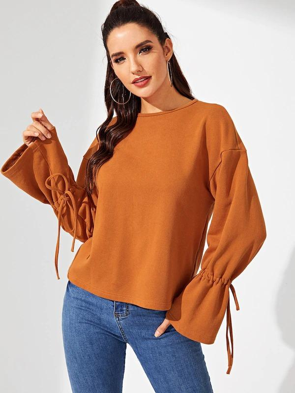 Knot Bell Sleeve Solid Pullover