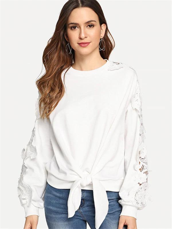 Knot Front Lace Contrast Solid Pullover