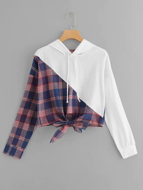 Knot Front Plaid Hooded Sweatshirt