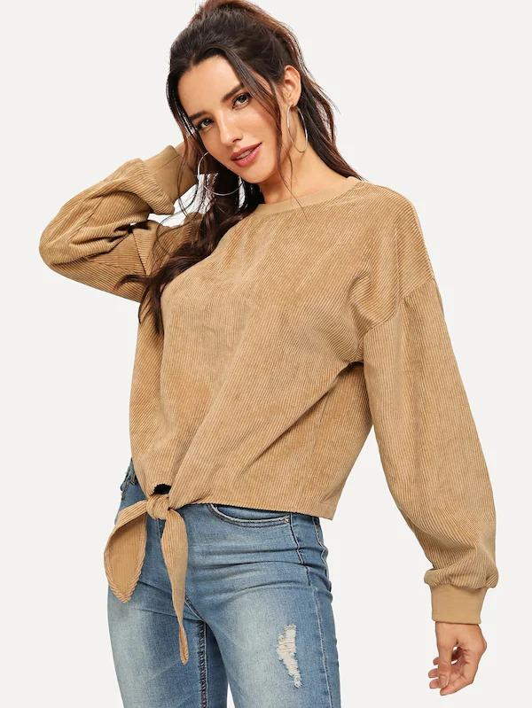Knot Front Solid Pullover