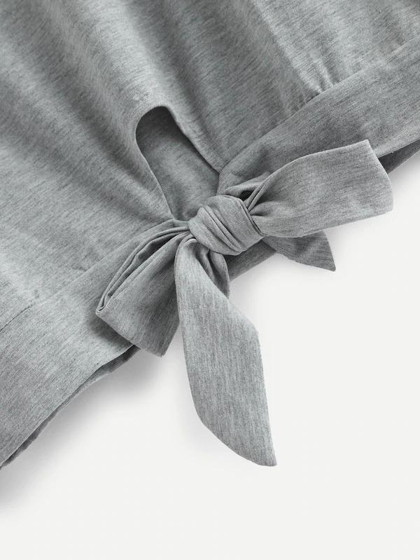 Knot Hem Contrast Taped Sweatshirt