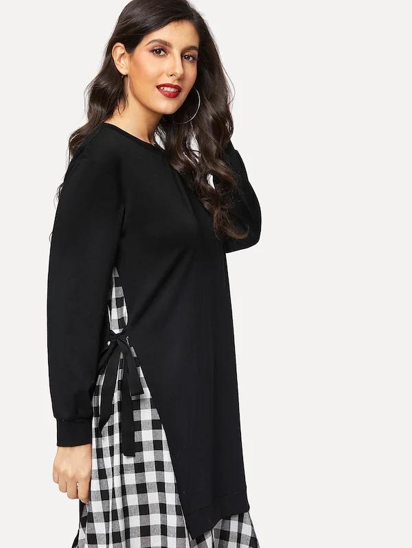 Knot Side 2 In 1 Sweatshirt Dress