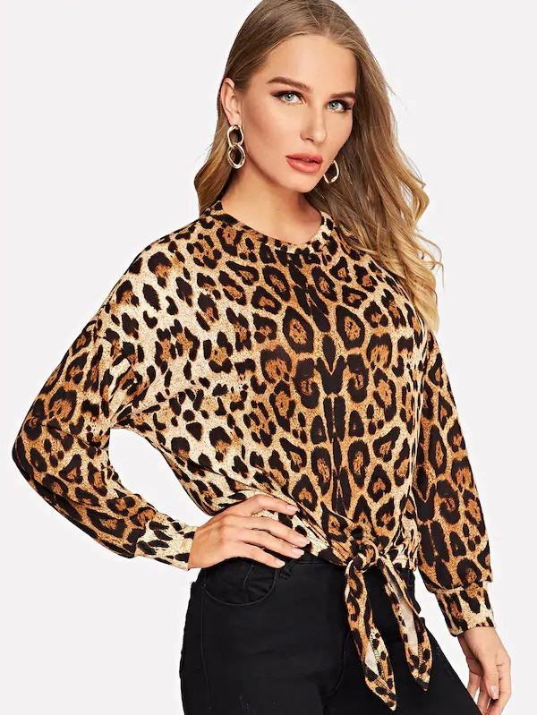 Knotted Front Leopard Print Pullover