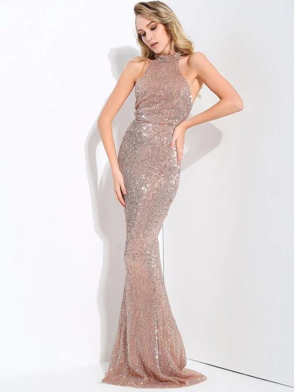 LOVE&LEMONADE Backless Halter Maxi Bodycon Sequin Dress