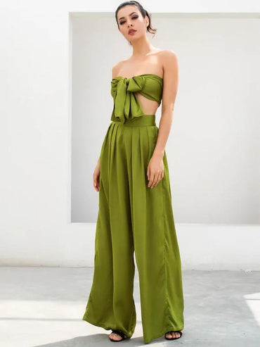 LOVE&LEMONADE Solid Tie Front Bandeau & Wide Leg Pants Set