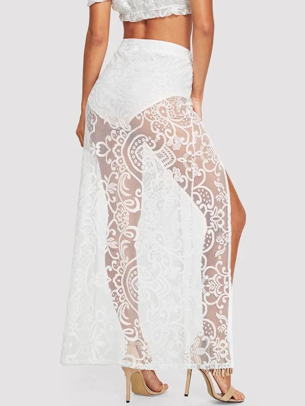 Lace Embroidered Split Skirt