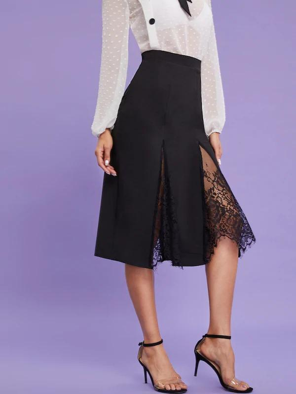 Lace Godet Panel Midi Skirt