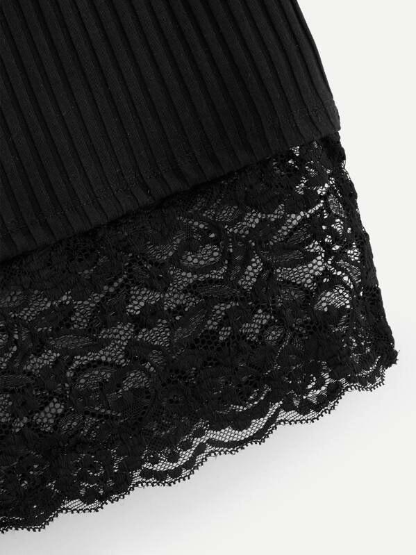 Lace Hem Rib Knit Skirt