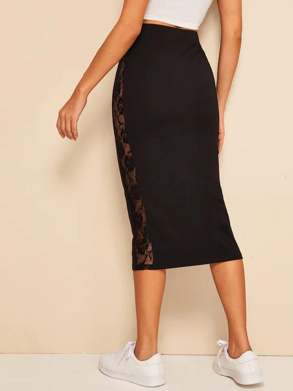 Lace Insert High Waist Solid Skirt