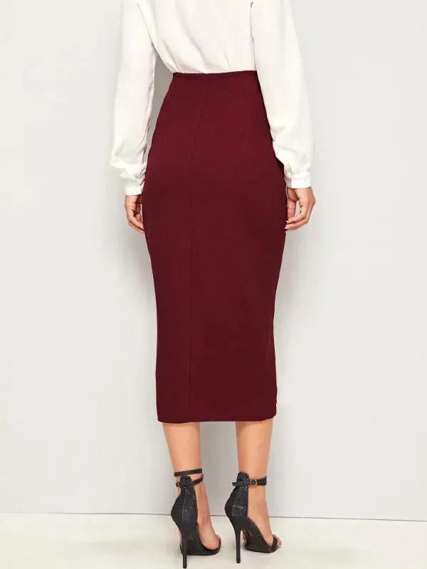 Lace Trim Solid Pencil Skirt