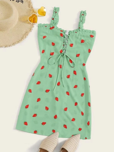 Women Plus Size Lace Up Strawberry Print Cami Dress
