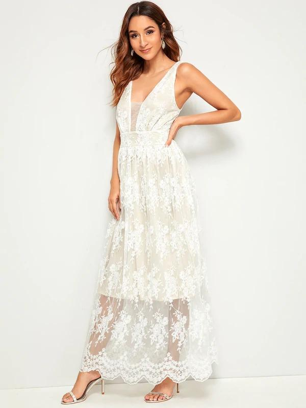 Lace Overlay Plunge Maxi Dress