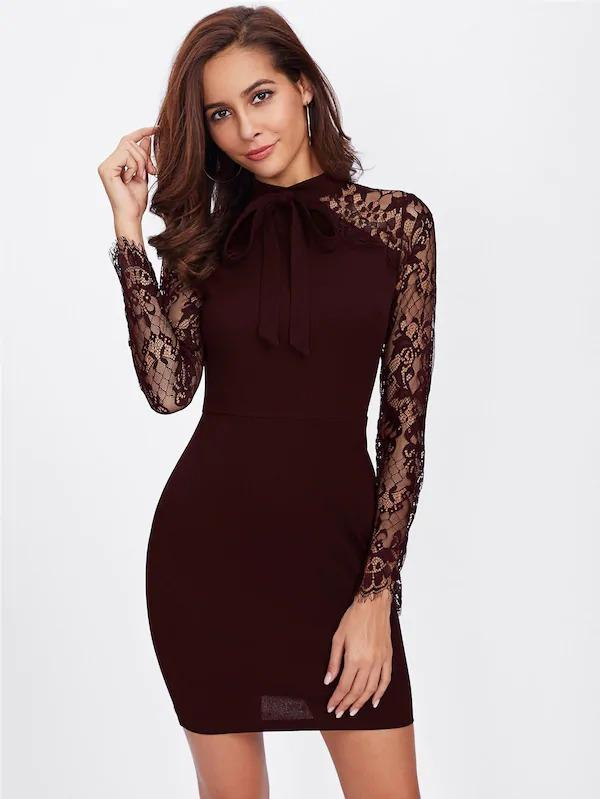 Lace Sleeve Tie Neck Bodycon Dress