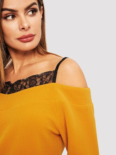 Lace Trim Cold Shoulder Textured Top