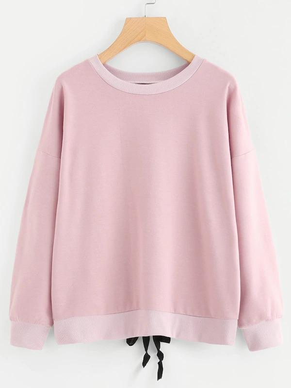 Lace Up Back Sweatshirt