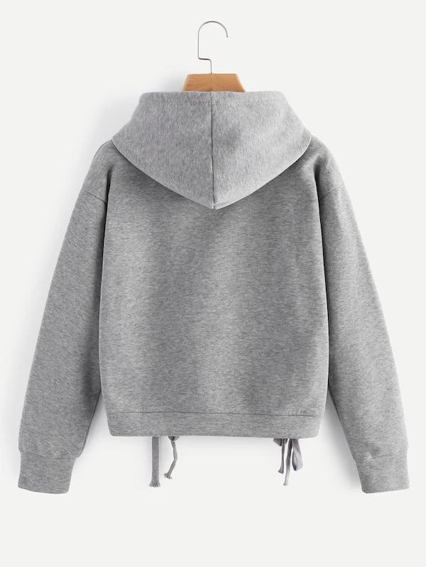 Lace Up Side Marled Hoodie