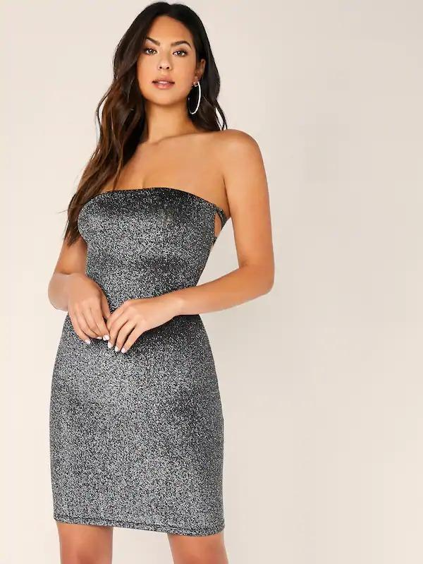Lace Up Tie Back Glitter Bodycon Tube Dress