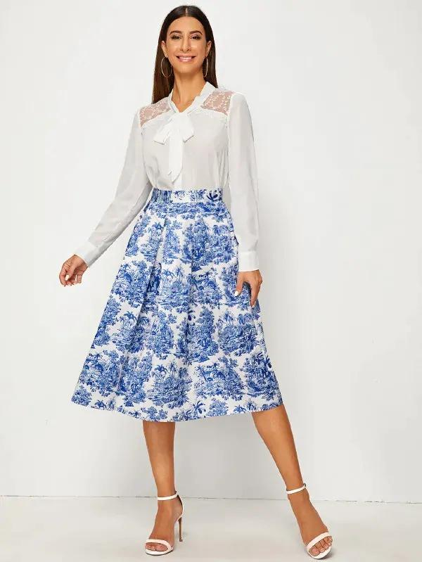 Landscape Print Wide Band Waist Pleated Satin Skirt