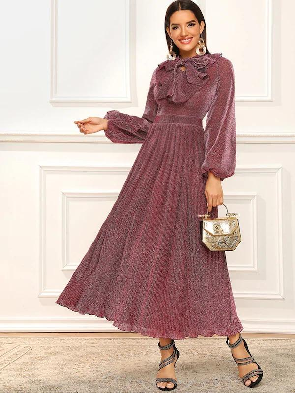 Lantern Sleeve Tie Neck Glitter Fit & Flare Maxi Dress