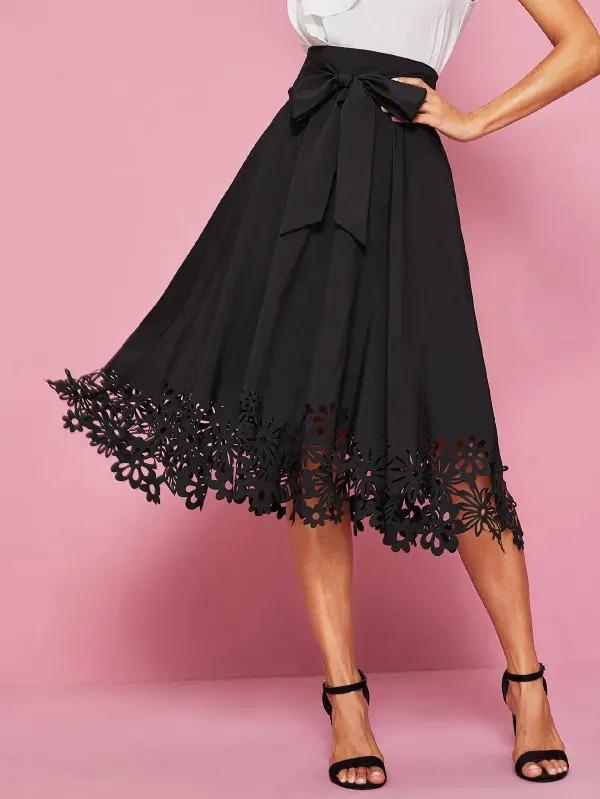 Laser Cut Hem Self Tie Midi Skirt