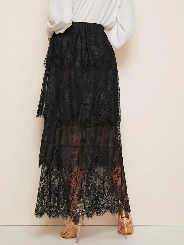 Layered Eyelet Lace Overlay Maxi Skirt
