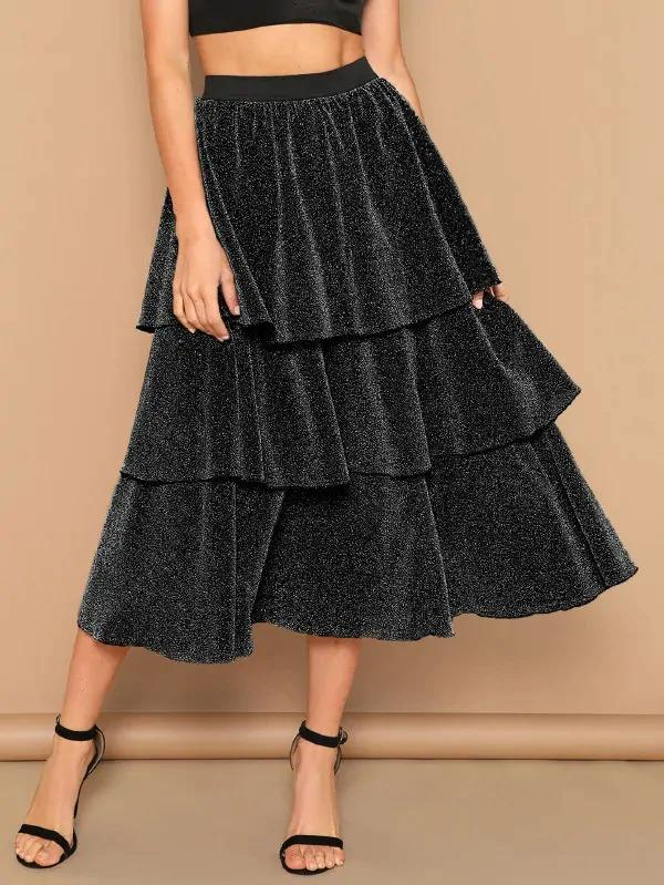 Layered Ruffle Glitter Skirt