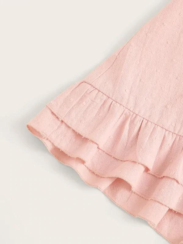 Layered Ruffle Hem Wrap Skirt